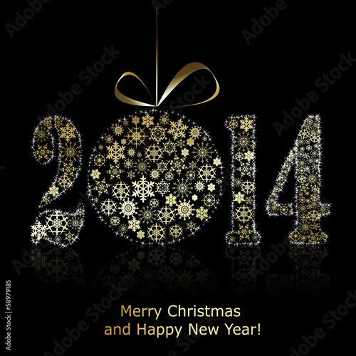 New 2014 year symbol on black backround. Christmas greeting card Wallpaper Mural