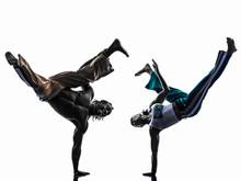 Couple Capoeira Dancers Dancing   Silhouette