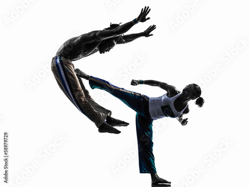 Photo Stands Martial arts couple capoeira dancers dancing silhouette