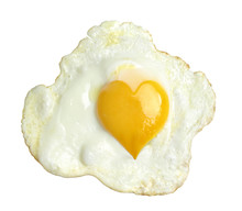 Fried Egg With Heart Form Yolk...