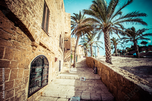 Foto auf Leinwand Schmale Gasse The old streets of Jaffa, Tel Aviv, Israel