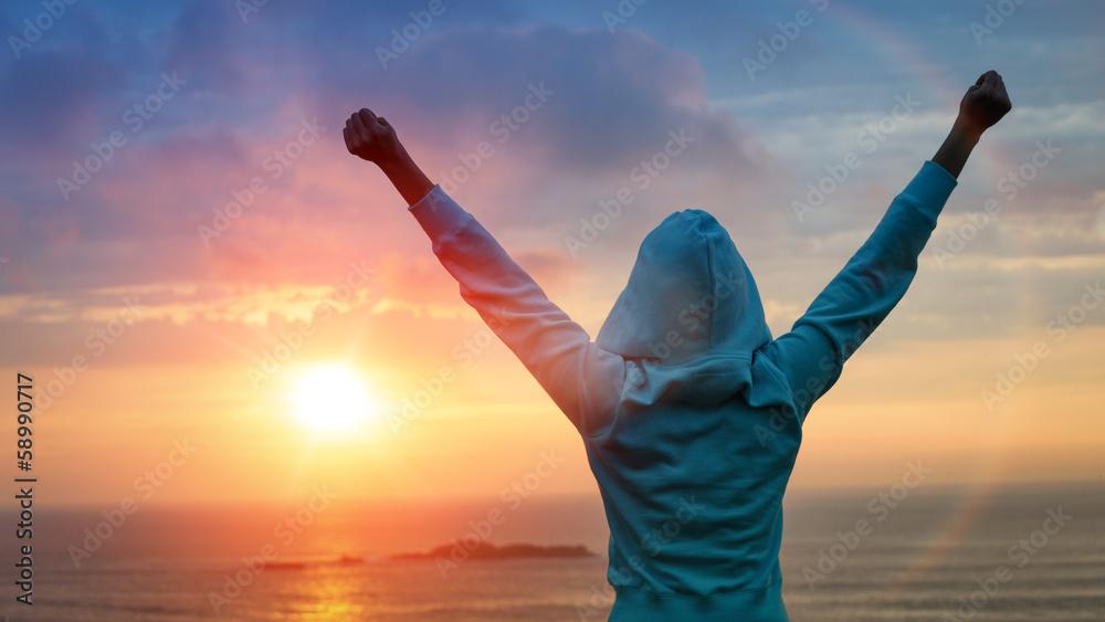 Fototapeta Sport success on sunset background