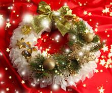 Christmas Wreath On Fabric Background