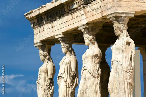 Poster Athens Caryatid sculptures, Acropolis of Athens, Greece