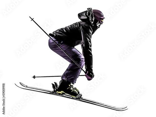 Fotografie, Obraz  one woman skier skiing jumping silhouette