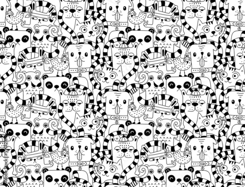Aufkleber - Seamless pattern with cute funny animals