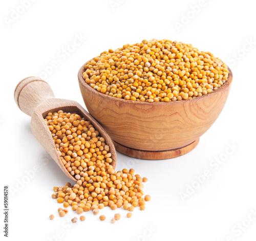 white mustard seeds isolated on white Fototapeta