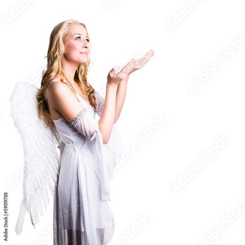 blonder Engel mit Angebots-Geste Poster