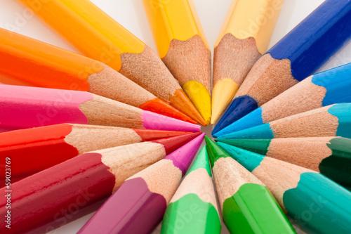 Fotografie, Obraz  Bunte Farbstifte vor weißem Hintergrund