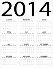 Basic 2014 Calendar On Black A...