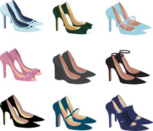 Assorted Women Shoes Isolated On White