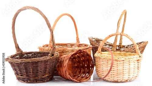 Obraz Empty wicker baskets, isolated on white - fototapety do salonu
