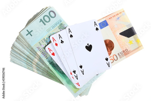 Gambling concept. Playing cards aces and money плакат