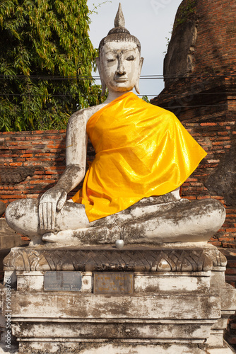bouddha, wat yai chai mongkol, ayutthaya, Thaïlande