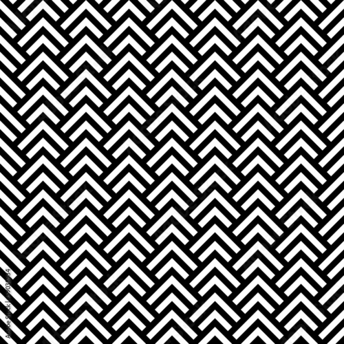 Photo  Black and white chevron geometric seamless pattern, vector