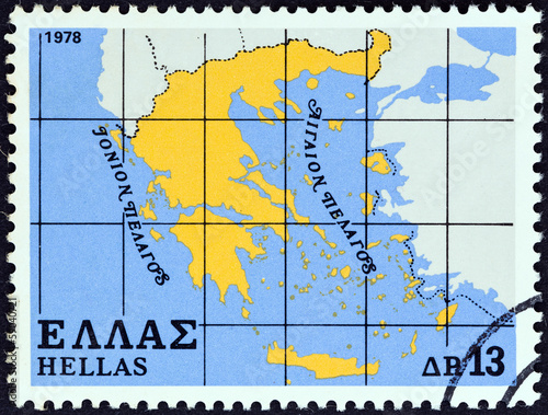 Fotografia  Map of Greece (Greece 1978)