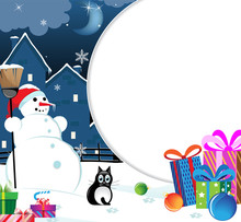 Snowman With Christmas Presents