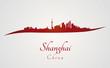 Shanghai skyline in red