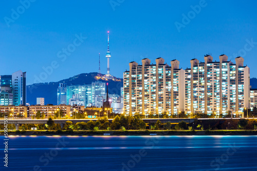 Seoul city at night Poster