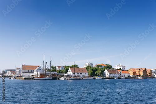 Poster Scandinavie Haugesund Town in Norway, view at Hasseloy island