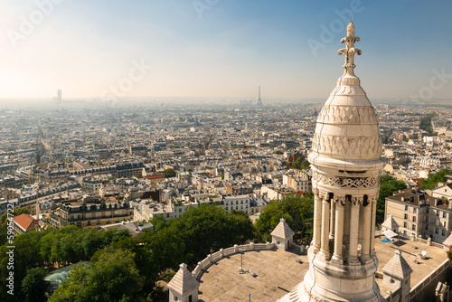 Fototapeta View of Paris from the Sacre Coeur cathedral, city skyline in summer