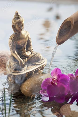 Aluminium Prints Bestsellers religious incense next to water Buddha