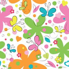 fototapeta motyle i kwiaty wzór
