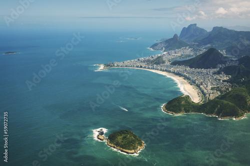 Copacabana Beach Rio de Janeiro Brazil Aerial View Canvas Print
