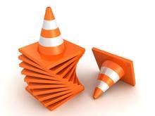 Traffic Road Orange Cones Stack On White