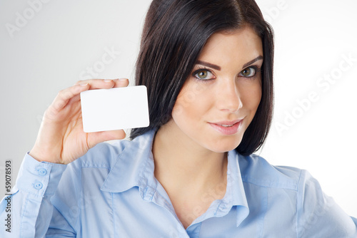 Photo  woman with card