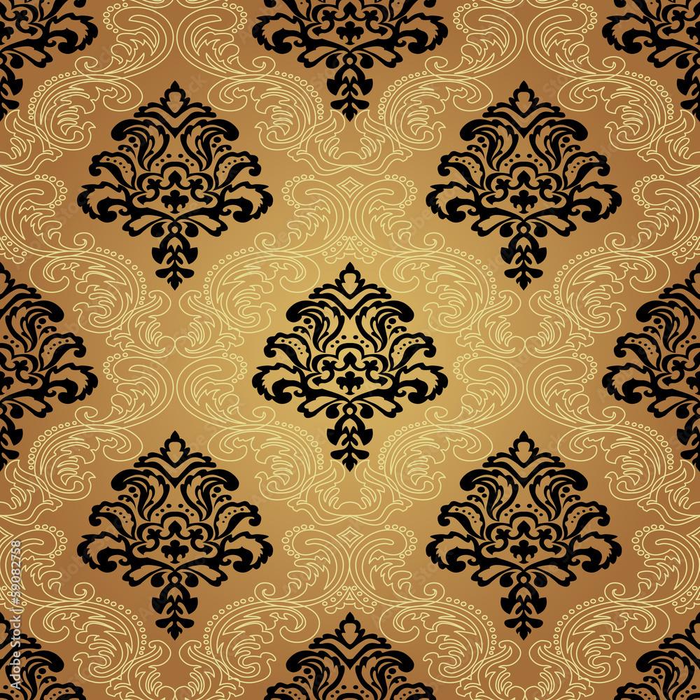 Seamless pattern background.Damask wallpaper.