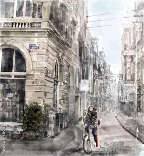 ilustracja-miasto-ulica-dziewczyna-jazda-na-rowerze-woda