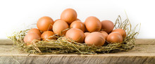 Chicken Eggs In Hay Nest. Isol...