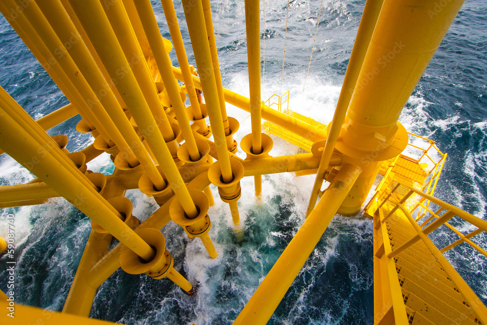 Fototapety, obrazy: Oil and Gas Producing Slots at Offshore Platform