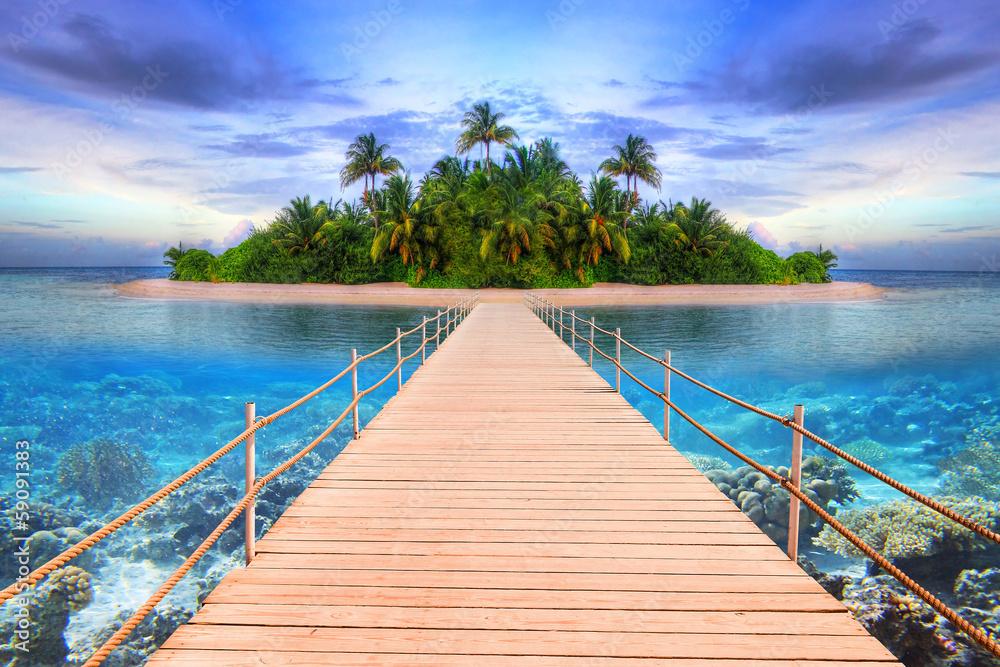 Pier to the tropical island of Maldives - obrazy, fototapety, plakaty