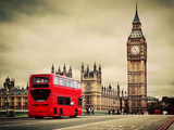 Fototapeta Big Ben - London, the UK. Red bus in motion and Big Ben