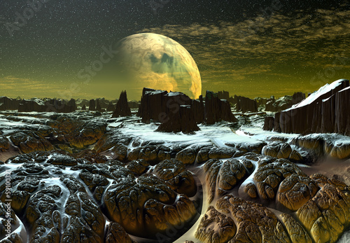 Foto op Aluminium Draken Alien Planet with Mountains and Snow