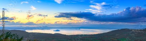 Bolsena lake aerial panoramic view from Montefiascone, Italy. Wallpaper Mural