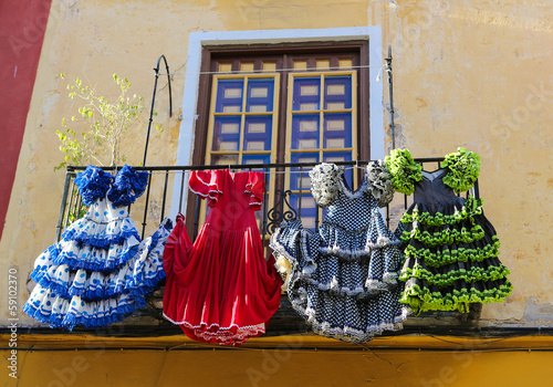 Photo  Colorful Flamenco dresses in Spain