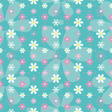 blue pink and white flowers pattern
