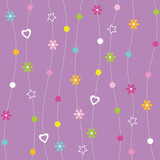 hearts flowers dots and stars pattern