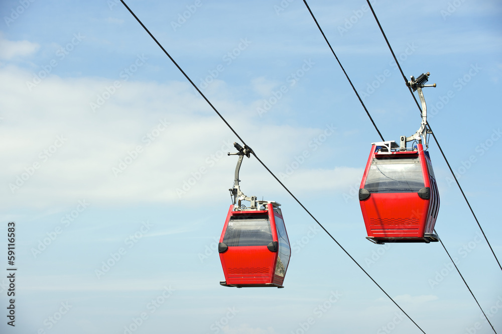 Fototapety, obrazy: Red Overhead Cable Cars Blue Sky
