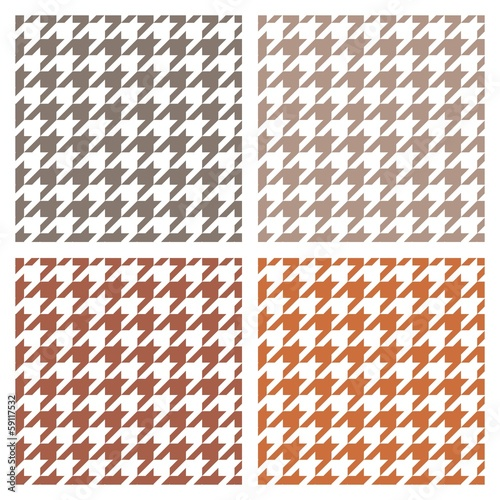 Photo  Houndstooth vector seamless background brown white pattern set