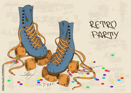 Illustration with retro roller skates