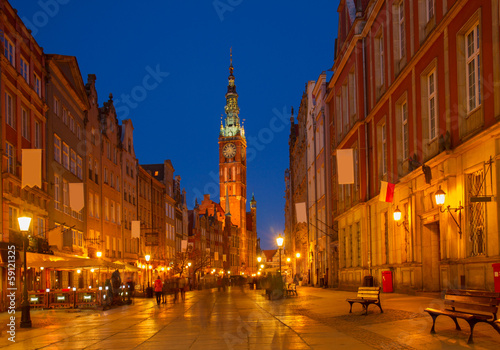 Fototapety, obrazy: Long street at Old town of Gdansk