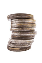 Stack Of Film Cans, Side View With Clipping Path