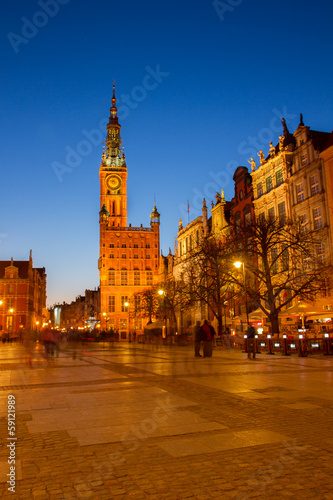 Fototapety, obrazy: city hall of Gdansk at night