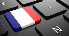 France - Flag On Button Of Bla...