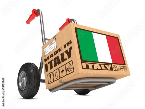 Canvas Print Made in Italy - Cardboard Box on Hand Truck.