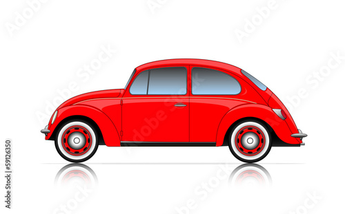 Staande foto Cartoon cars compact red car